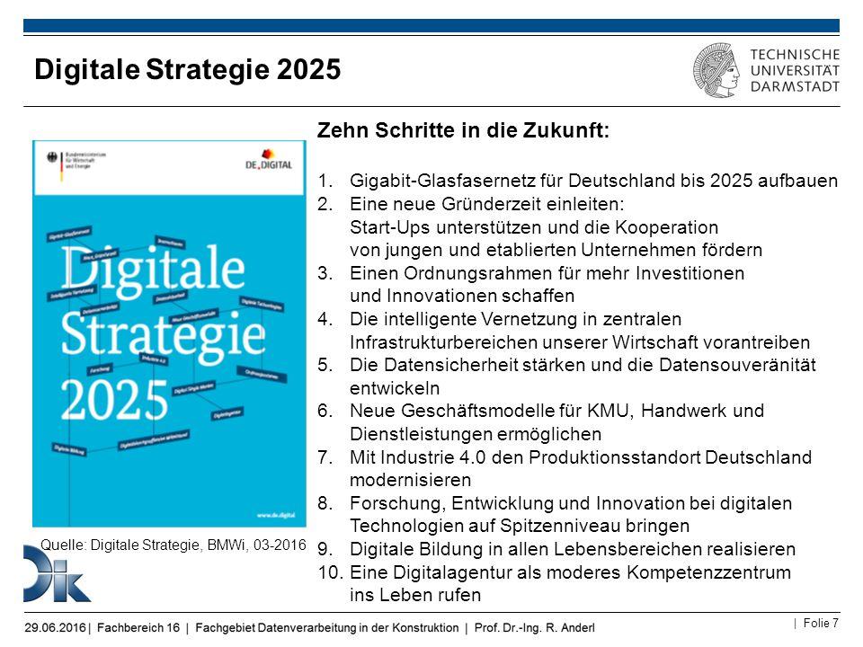 | Folie 7 Digitale Strategie 2025 Zehn Schritte in die Zukunft: 1.Gigabit-Glasfasernetz für Deutschland bis 2025 aufbauen 2.Eine neue Gründerzeit einl