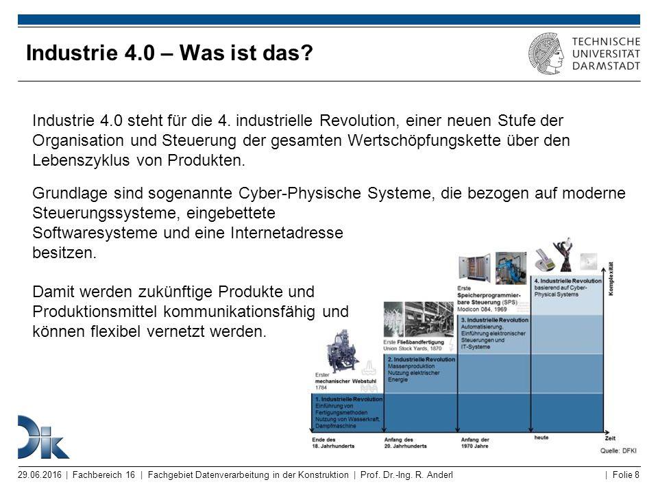 | Folie 8 Industrie 4.0 – Was ist das? 29.06.2016 | Fachbereich 16 | Fachgebiet Datenverarbeitung in der Konstruktion | Prof. Dr.-Ing. R. Anderl Indus