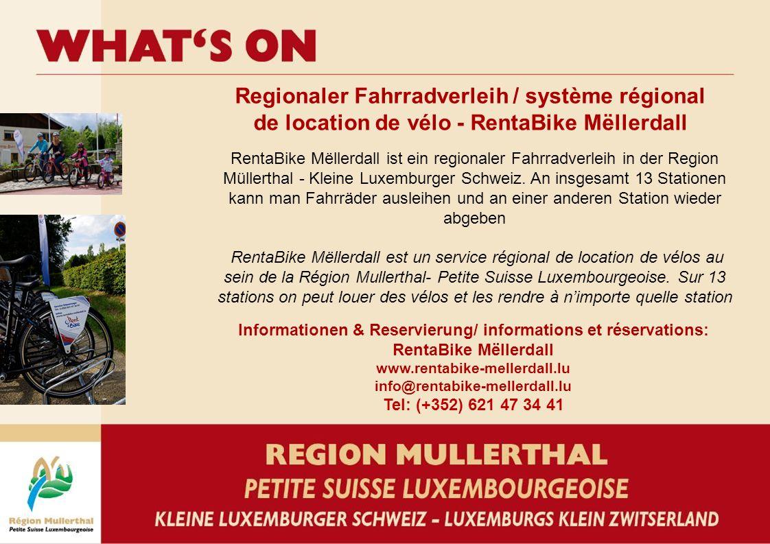 Regionaler Fahrradverleih / système régional de location de vélo - RentaBike Mëllerdall Informationen & Reservierung/ informations et réservations: Re