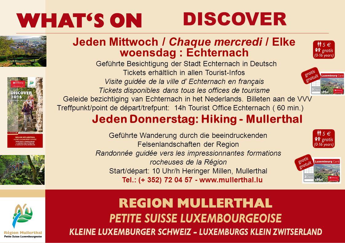 DISCOVER Jeden Mittwoch / Chaque mercredi / Elke woensdag : Echternach Geführte Besichtigung der Stadt Echternach in Deutsch Tickets erhältlich in all