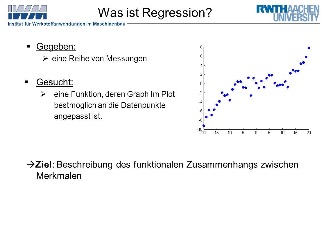 Institut für Werkstoffanwendungen im Maschinenbau Was ist Regression?  Gegeben:  eine Reihe von Messungen  Gesucht:  eine Funktion, deren Graph Im