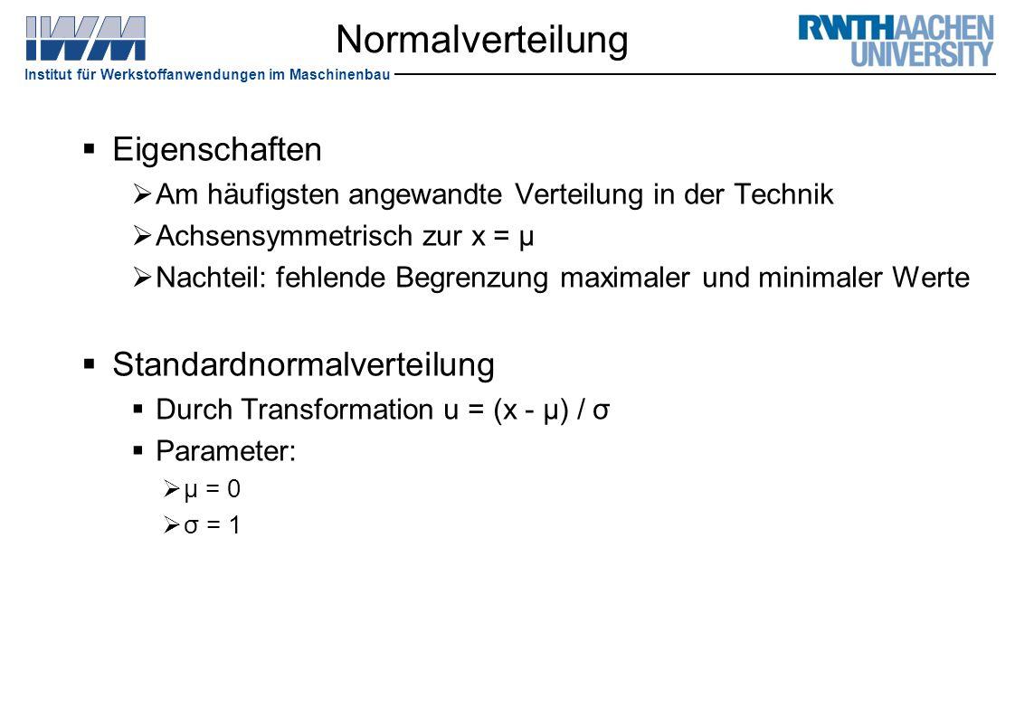 Institut für Werkstoffanwendungen im Maschinenbau Normalverteilung  Eigenschaften  Am häufigsten angewandte Verteilung in der Technik  Achsensymmet