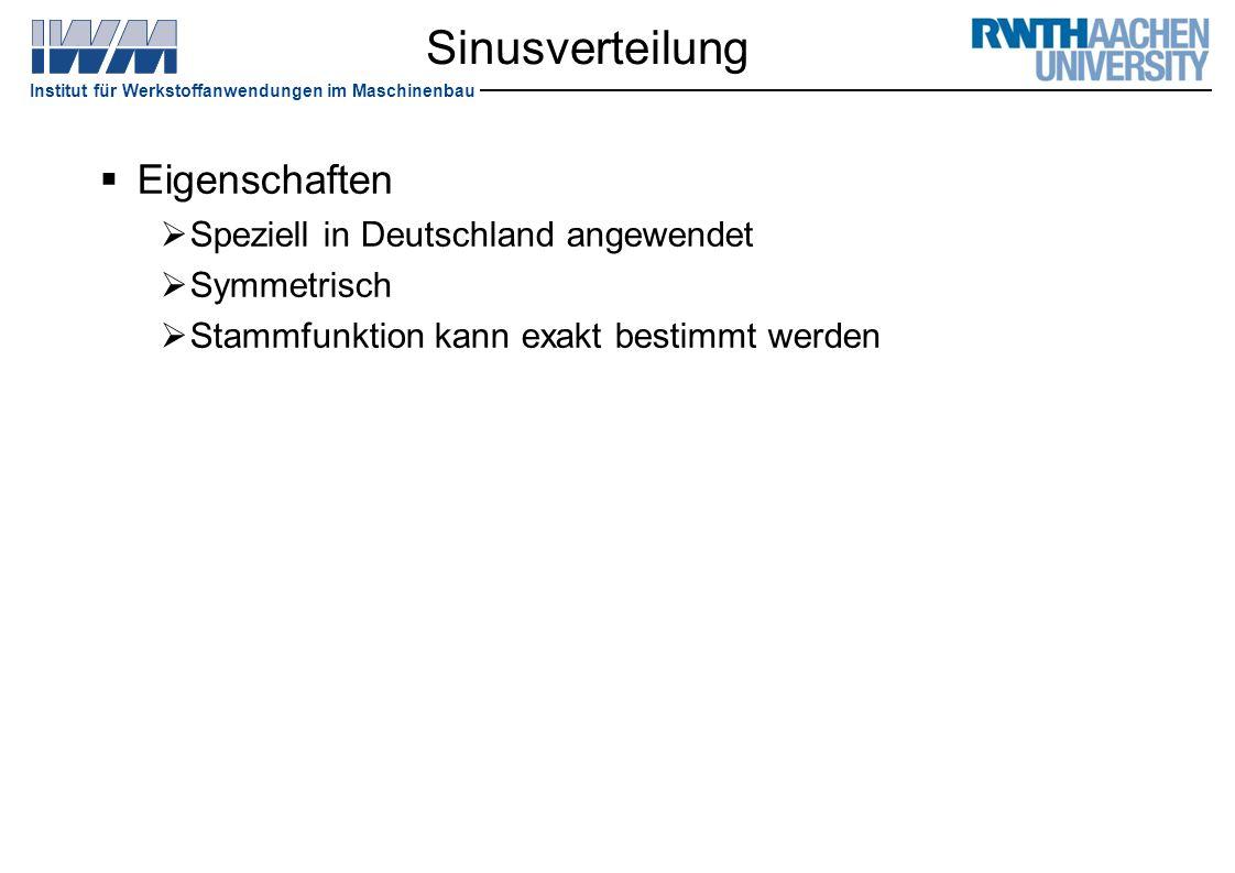 Institut für Werkstoffanwendungen im Maschinenbau Sinusverteilung  Eigenschaften  Speziell in Deutschland angewendet  Symmetrisch  Stammfunktion k