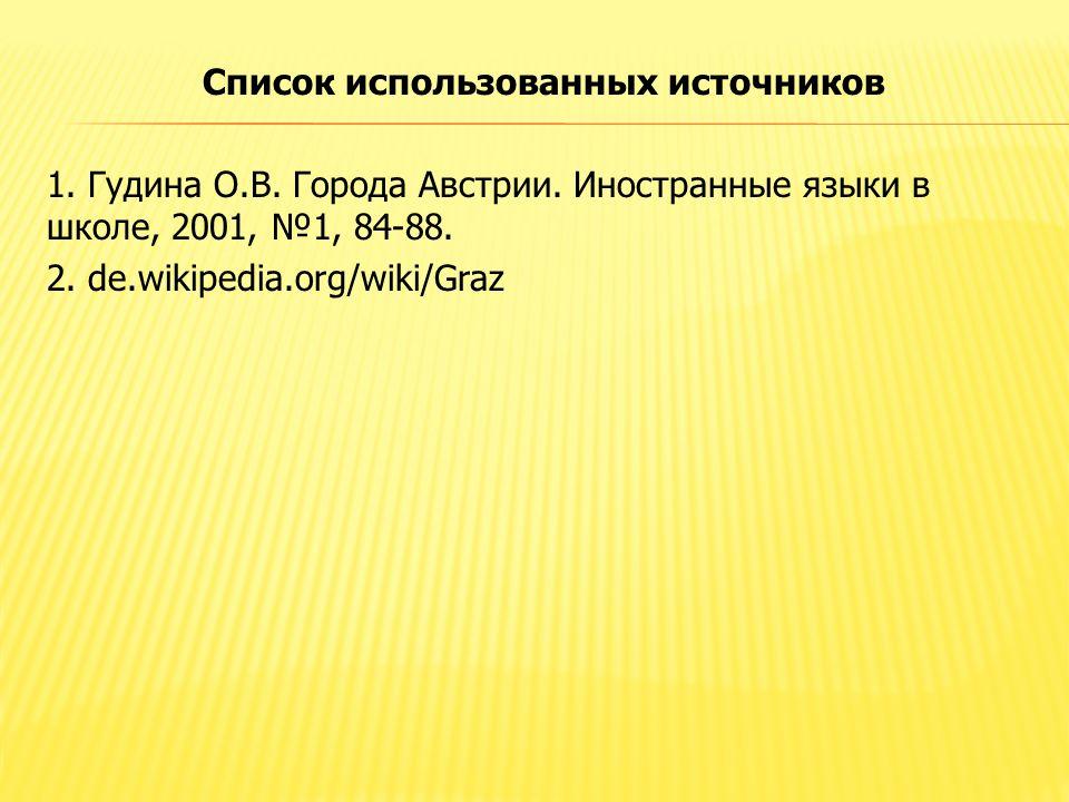 Список использованных источников 1. Гудина О.В. Города Австрии. Иностранные языки в школе, 2001, №1, 84-88. 2. de.wikipedia.org/wiki/Graz