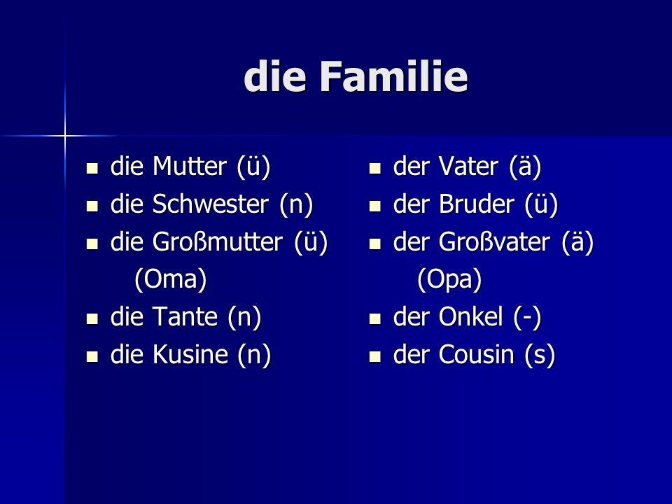 die Familie die Mutter (ü) die Mutter (ü) die Schwester (n) die Schwester (n) die Großmutter (ü) die Großmutter (ü) (Oma) (Oma) die Tante (n) die Tante (n) die Kusine (n) die Kusine (n) der Vater (ä) der Vater (ä) der Bruder (ü) der Bruder (ü) der Großvater (ä) der Großvater (ä) (Opa) (Opa) der Onkel (-) der Onkel (-) der Cousin (s) der Cousin (s)