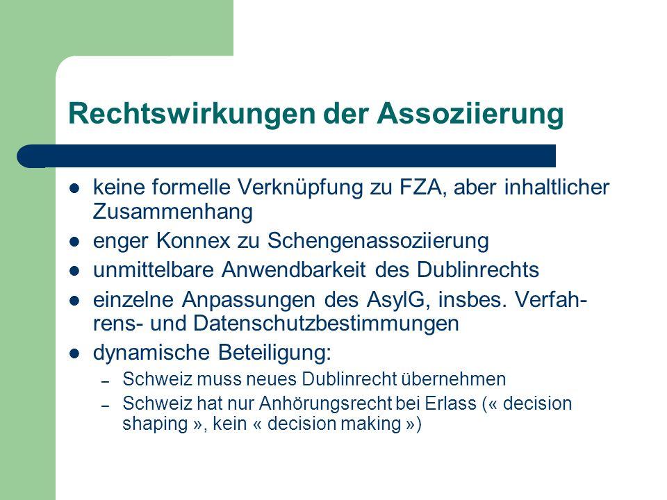 Rechtswirkungen der Assoziierung keine formelle Verknüpfung zu FZA, aber inhaltlicher Zusammenhang enger Konnex zu Schengenassoziierung unmittelbare Anwendbarkeit des Dublinrechts einzelne Anpassungen des AsylG, insbes.