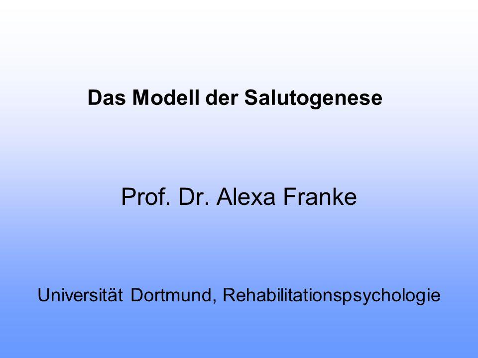 Das Modell der Salutogenese Prof. Dr. Alexa Franke Universität Dortmund, Rehabilitationspsychologie