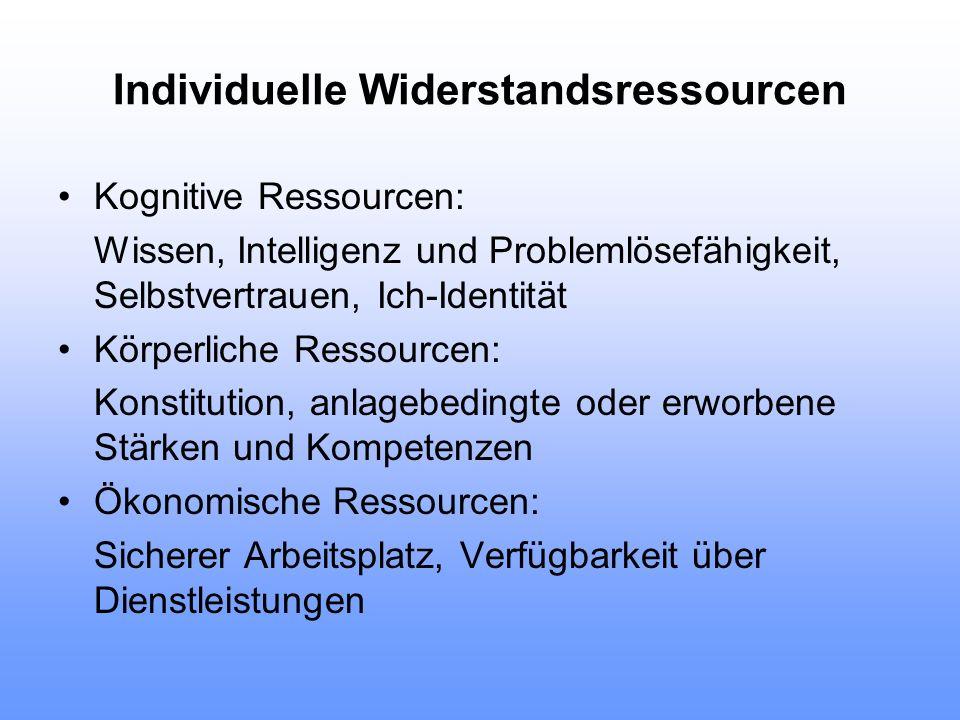 Individuelle Widerstandsressourcen Kognitive Ressourcen: Wissen, Intelligenz und Problemlösefähigkeit, Selbstvertrauen, Ich-Identität Körperliche Ress