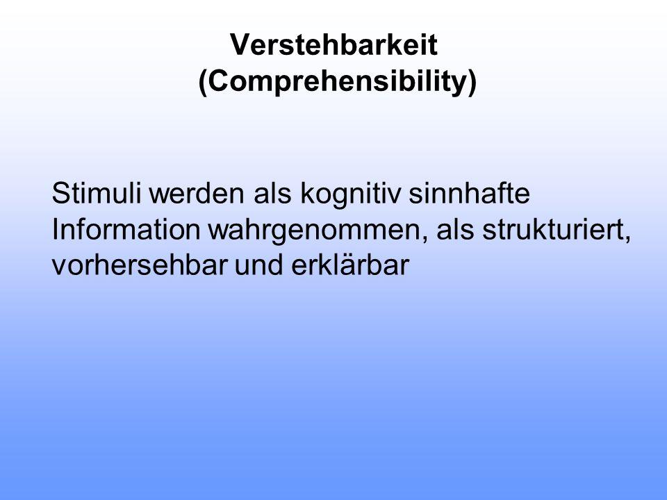 Verstehbarkeit (Comprehensibility) Stimuli werden als kognitiv sinnhafte Information wahrgenommen, als strukturiert, vorhersehbar und erklärbar