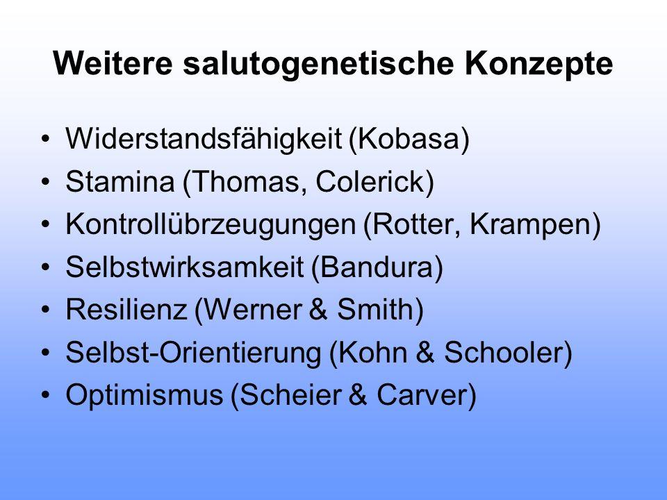 Weitere salutogenetische Konzepte Widerstandsfähigkeit (Kobasa) Stamina (Thomas, Colerick) Kontrollübrzeugungen (Rotter, Krampen) Selbstwirksamkeit (B