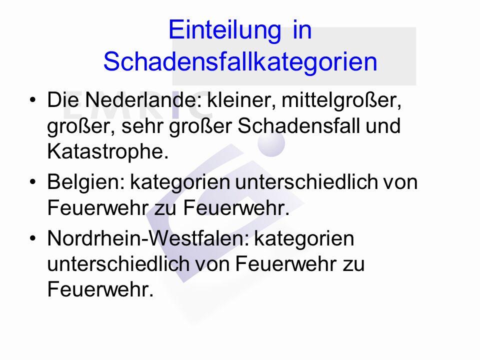 Einteilung in Schadensfallkategorien Die Nederlande: kleiner, mittelgroßer, großer, sehr großer Schadensfall und Katastrophe.