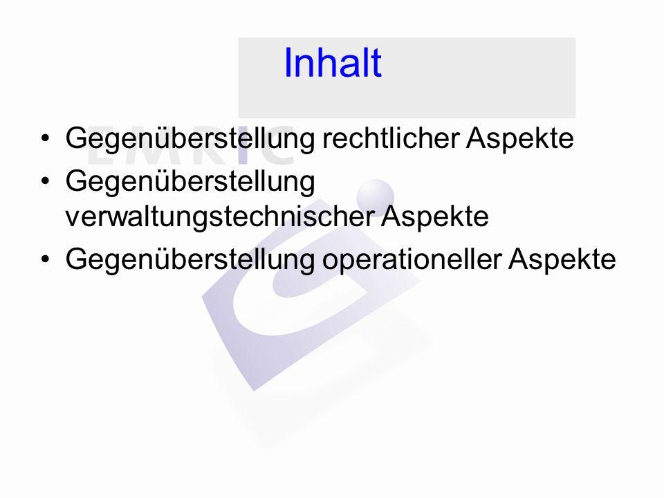 Inhalt Gegenüberstellung rechtlicher Aspekte Gegenüberstellung verwaltungstechnischer Aspekte Gegenüberstellung operationeller Aspekte