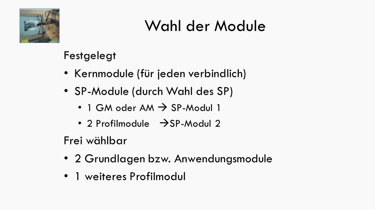 Wahl der Module Festgelegt Kernmodule (für jeden verbindlich) SP-Module (durch Wahl des SP) 1 GM oder AM  SP-Modul 1 2 Profilmodule  SP-Modul 2 Frei wählbar 2 Grundlagen bzw.