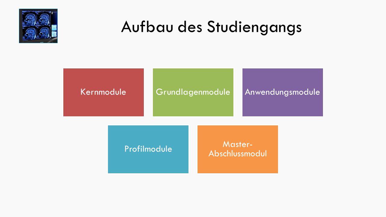 Aufbau des Studiengangs KernmoduleGrundlagenmoduleAnwendungsmodule Profilmodule Master- Abschlussmodul