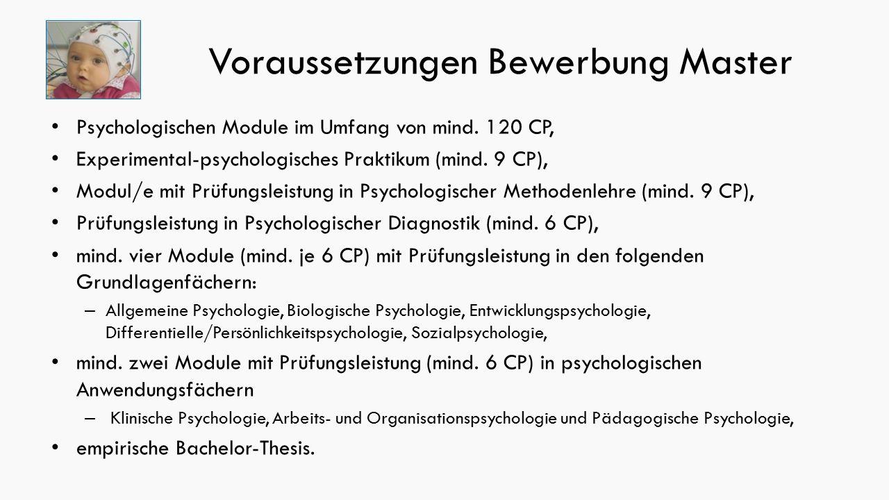 Voraussetzungen Bewerbung Master Psychologischen Module im Umfang von mind.