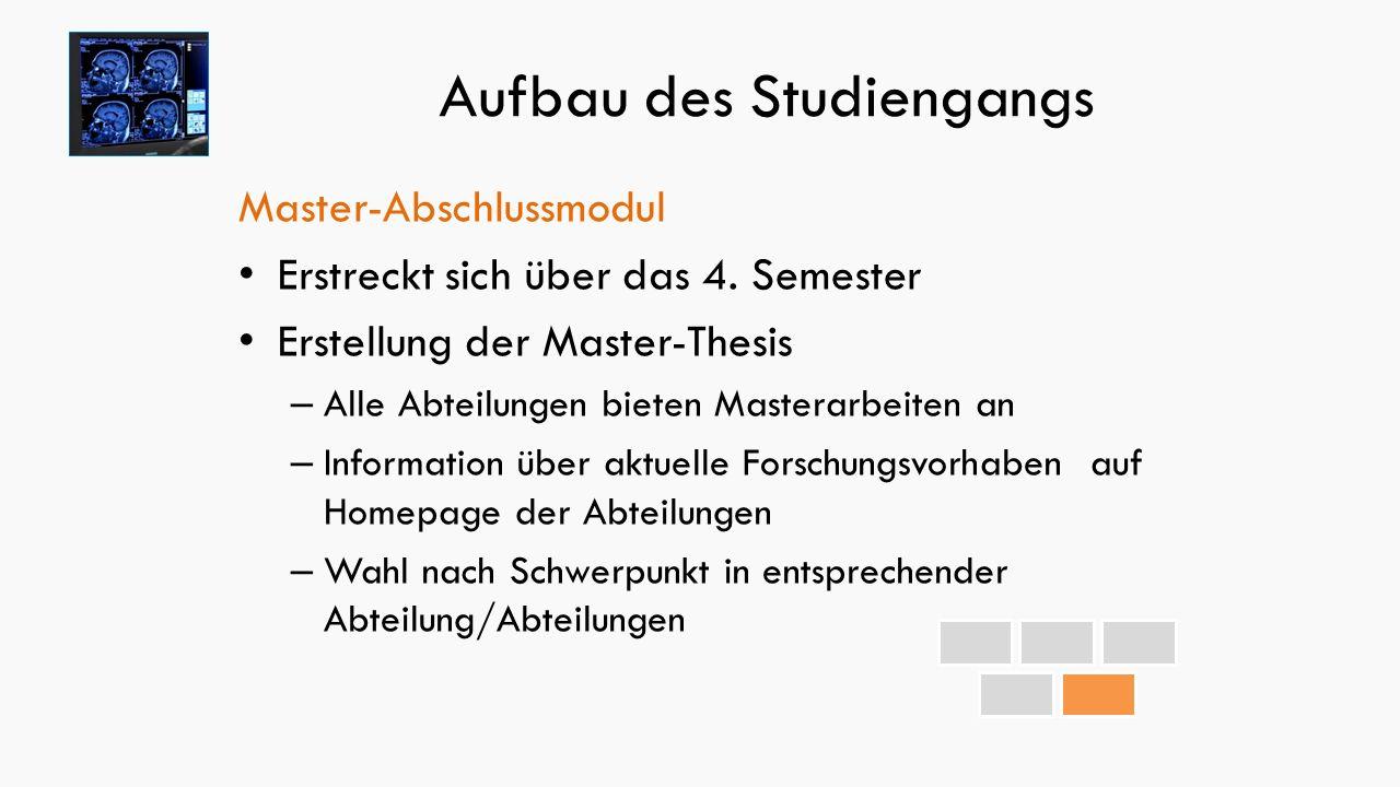 Aufbau des Studiengangs Master-Abschlussmodul Erstreckt sich über das 4.