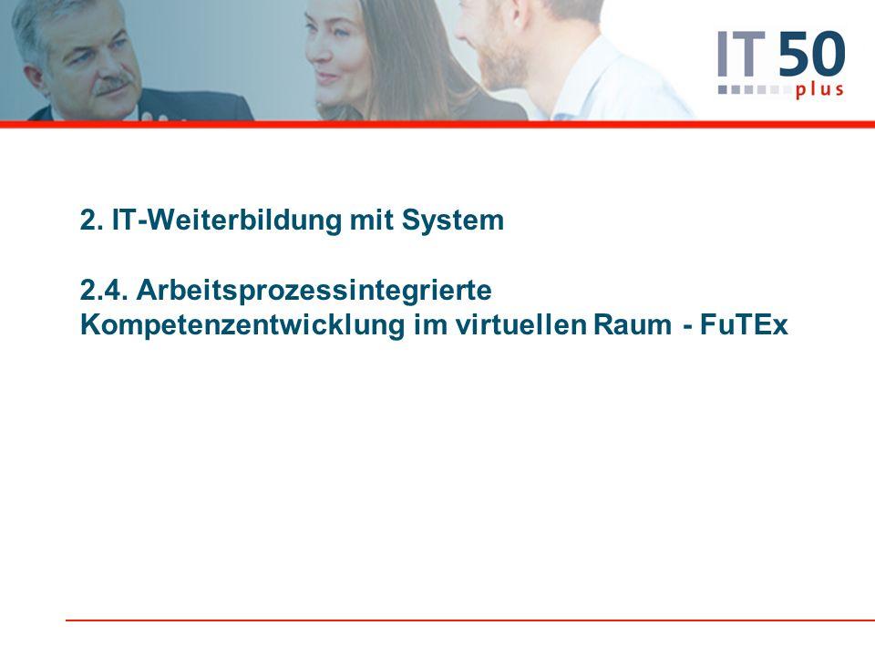 2. IT-Weiterbildung mit System 2.4. Arbeitsprozessintegrierte Kompetenzentwicklung im virtuellen Raum - FuTEx