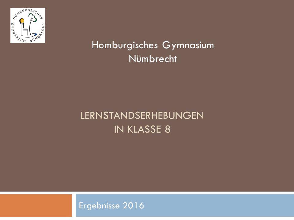 LERNSTANDSERHEBUNGEN IN KLASSE 8 Ergebnisse 2016 Homburgisches Gymnasium Nümbrecht