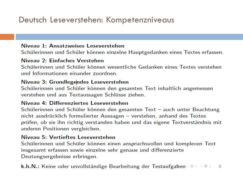 Deutsch Leseverstehen: Kompetenzniveaus