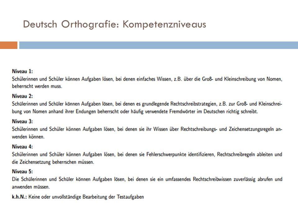 Deutsch Orthografie: Kompetenzniveaus