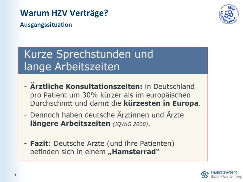 Warum HZV Verträge? Ausgangssituation 3