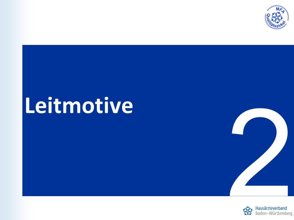 Leitmotive der HZV Freiwillige Teilnahme für Ärzte und Versicherte Stärkung des Primärarztsystems durch die Einschreibung der Versicherten bei ihrem Hausarzt  Lotsenfunktion Bessere Fortbildung für MFA und Hausärzte Enge Beziehung zwischen Hausarzt und Patient Enge Beziehung zwischen MFA und Patient Übernahme von mehr Aufgaben und Verantwortung Stärkung der Position der MFA (z.B.