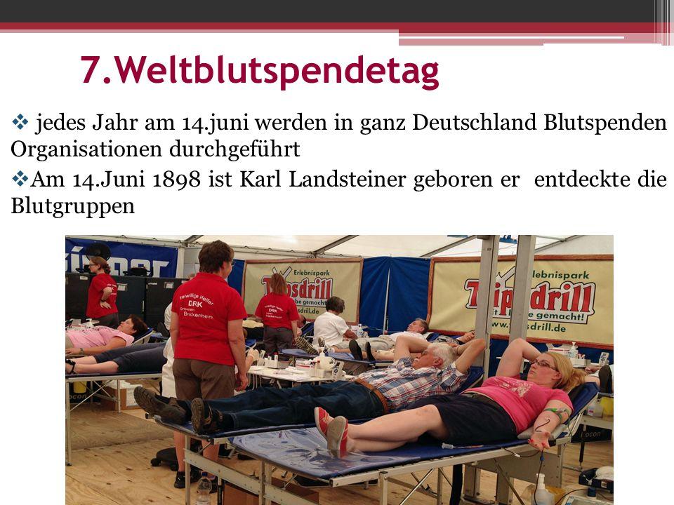  jedes Jahr am 14.juni werden in ganz Deutschland Blutspenden Organisationen durchgeführt  Am 14.Juni 1898 ist Karl Landsteiner geboren er entdeckte