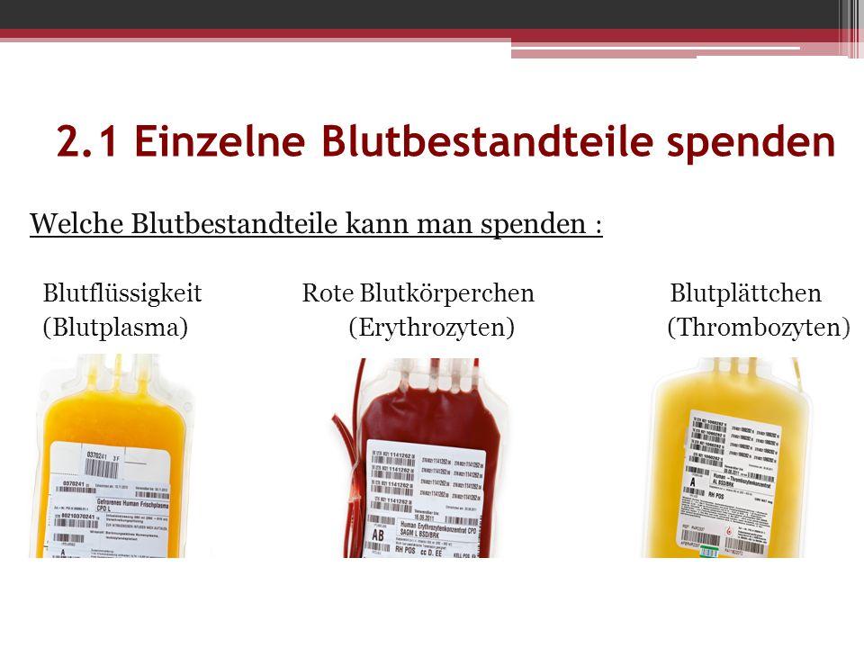 Welche Blutbestandteile kann man spenden : Blutflüssigkeit Rote Blutkörperchen Blutplättchen (Blutplasma) (Erythrozyten) (Thrombozyten)