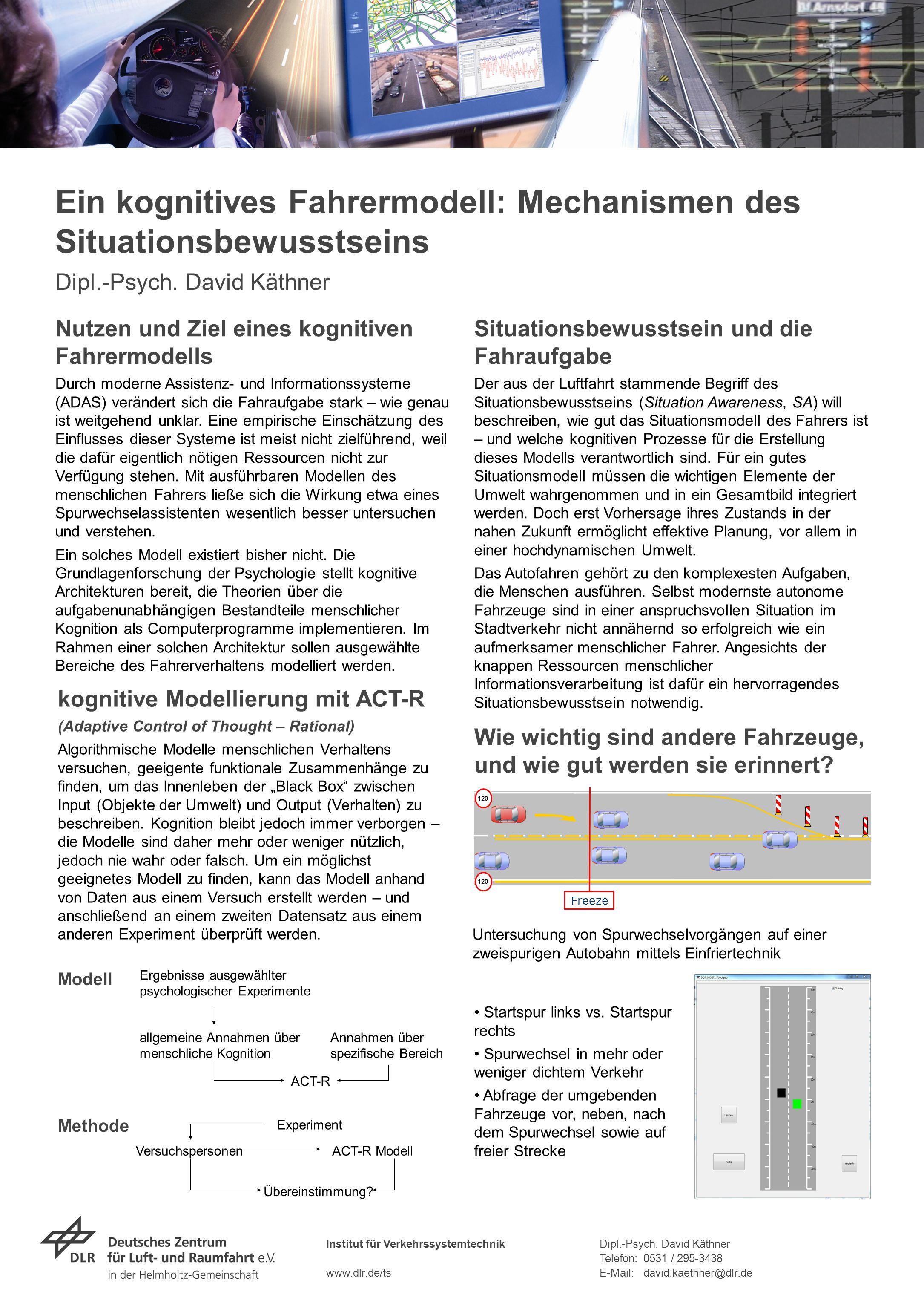 Institut für Verkehrssystemtechnik www.dlr.de/ts Dipl.-Psych. David Käthner Telefon:0531 / 295-3438 E-Mail:david.kaethner@dlr.de Ein kognitives Fahrer