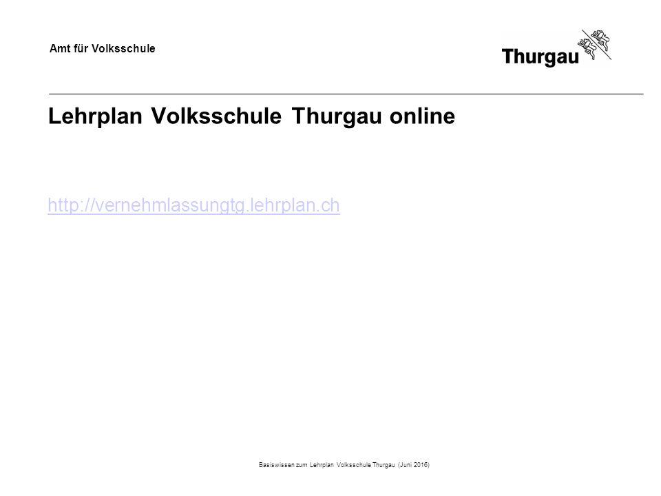Amt für Volksschule Lehrplan Volksschule Thurgau online http://vernehmlassungtg.lehrplan.ch Basiswissen zum Lehrplan Volksschule Thurgau (Juni 2016)