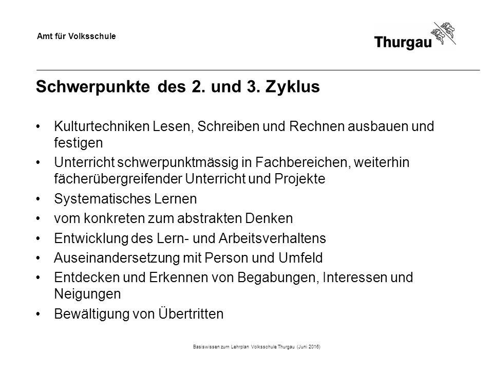 Amt für Volksschule Schwerpunkte des 2. und 3.