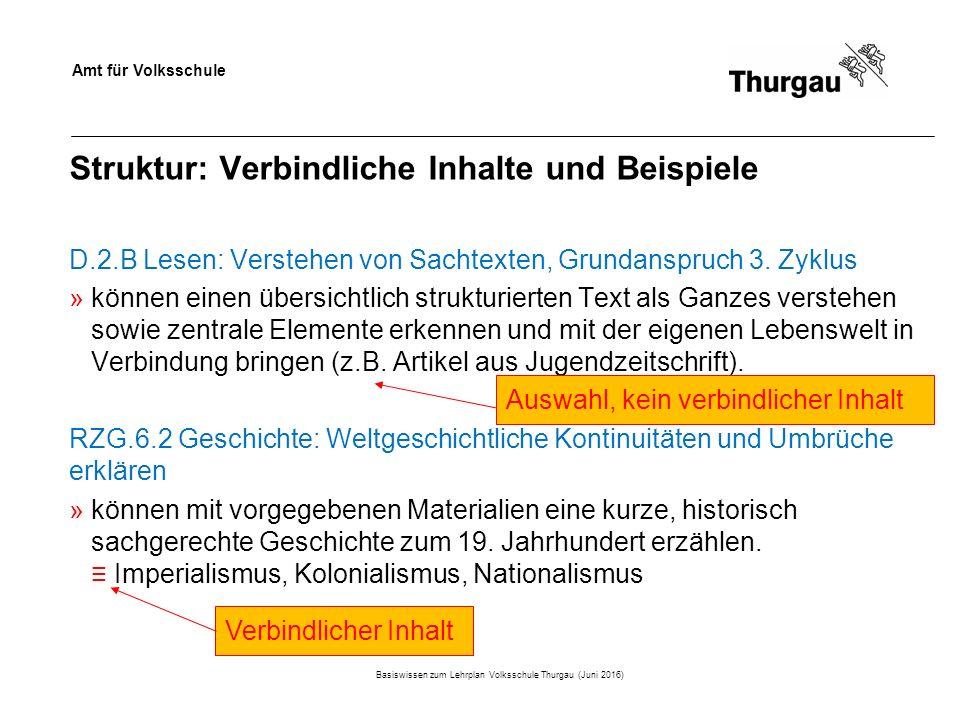 Amt für Volksschule Struktur: Verbindliche Inhalte und Beispiele Basiswissen zum Lehrplan Volksschule Thurgau (Juni 2016) D.2.B Lesen: Verstehen von Sachtexten, Grundanspruch 3.