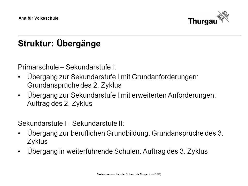 Amt für Volksschule Struktur: Übergänge Primarschule – Sekundarstufe I: Übergang zur Sekundarstufe I mit Grundanforderungen: Grundansprüche des 2.
