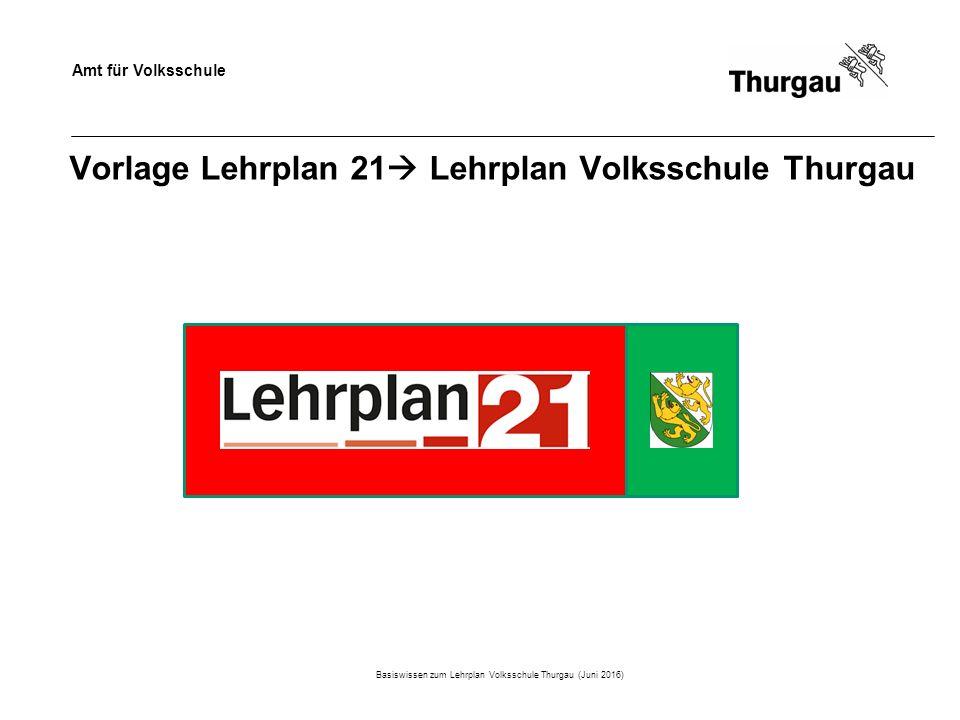 Amt für Volksschule Vorlage Lehrplan 21  Lehrplan Volksschule Thurgau Basiswissen zum Lehrplan Volksschule Thurgau (Juni 2016)
