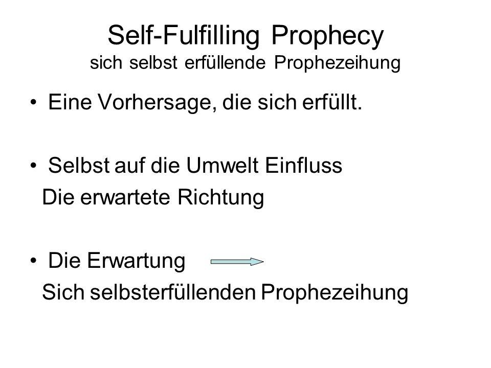 Self-Fulfilling Prophecy sich selbst erfüllende Prophezeihung Eine Vorhersage, die sich erfüllt.