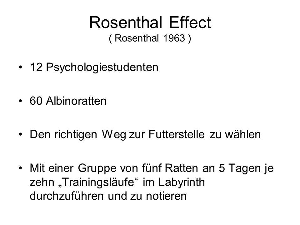 """Rosenthal Effect ( Rosenthal 1963 ) 12 Psychologiestudenten 60 Albinoratten Den richtigen Weg zur Futterstelle zu wählen Mit einer Gruppe von fünf Ratten an 5 Tagen je zehn """"Trainingsläufe im Labyrinth durchzuführen und zu notieren"""