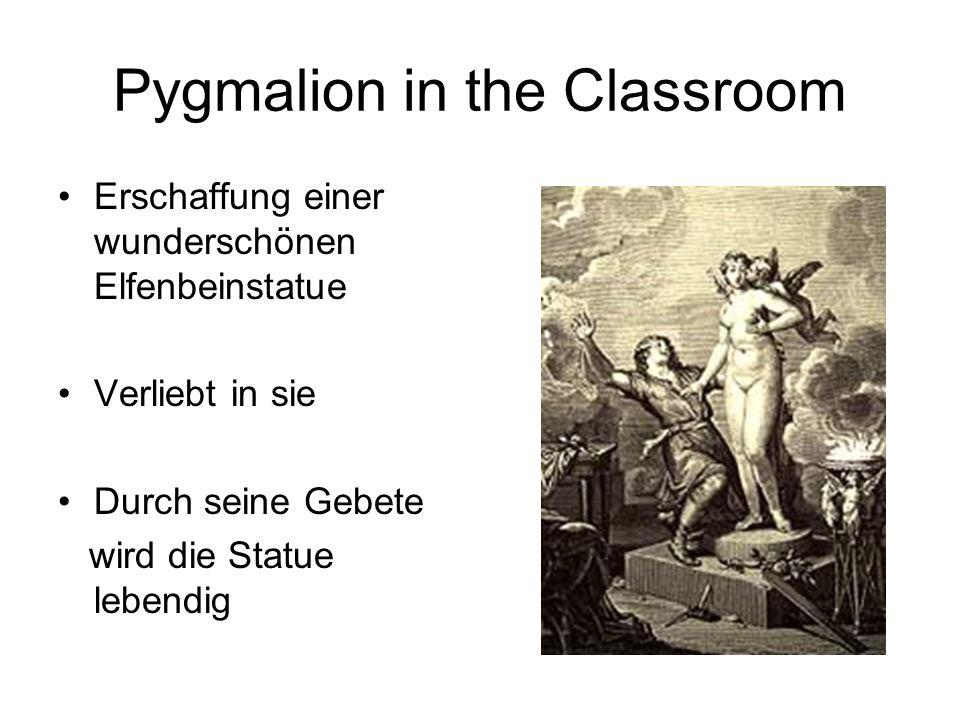 Pygmalion in the Classroom Erschaffung einer wunderschönen Elfenbeinstatue Verliebt in sie Durch seine Gebete wird die Statue lebendig