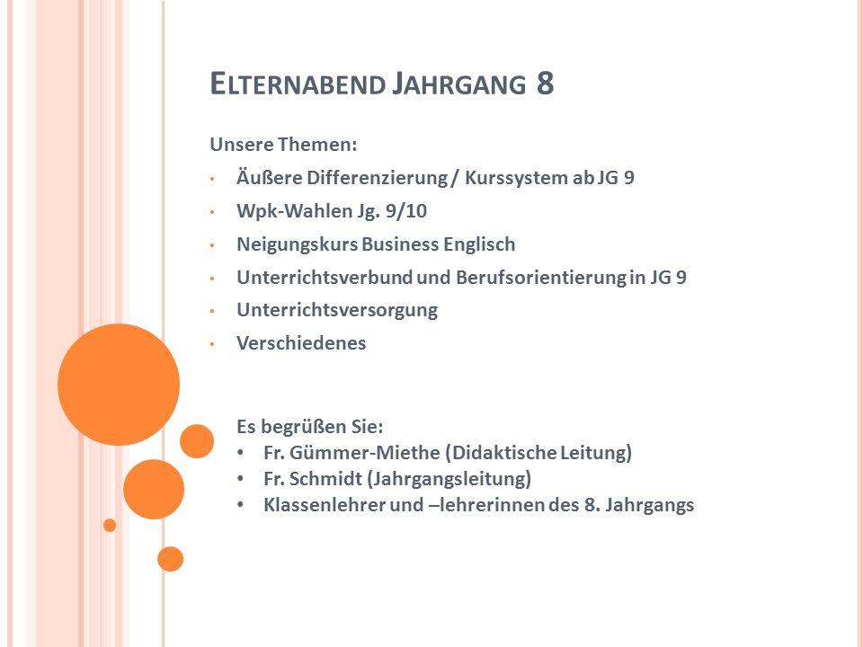 U NSERE T HEMEN : Äußere Differenzierung / Kurssystem ab JG 9 Wpk-Wahlen JG 9/10 Neigungskurs Business Englisch Unterrichtsverbund in und Berufsorientierung JG 9 Unterrichtsversorgung Verschiedenes