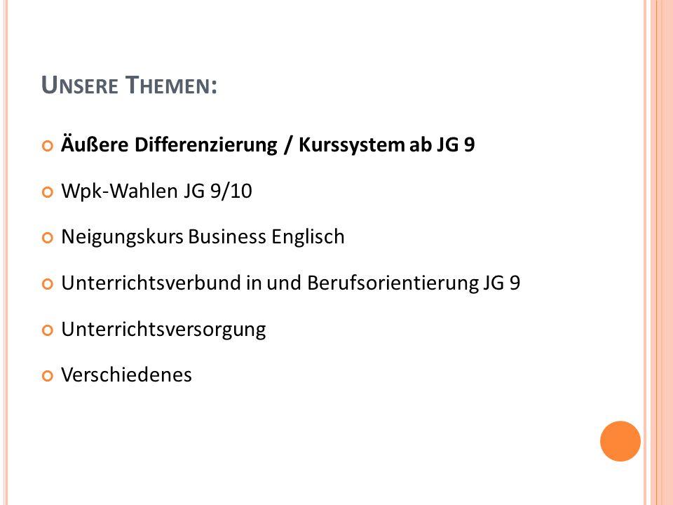 Ä UßERE D IFFERENZIERUNG / K URSSYSTEM 1.