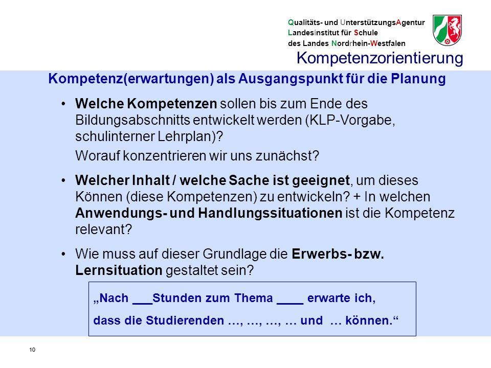 Qualitäts- und UnterstützungsAgentur Landesinstitut für Schule des Landes Nordrhein-Westfalen Kompetenzorientierte Kernlehrpläne 11