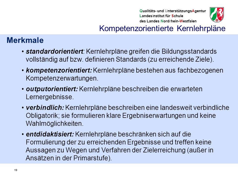 Qualitäts- und UnterstützungsAgentur Landesinstitut für Schule des Landes Nordrhein-Westfalen 20 II.