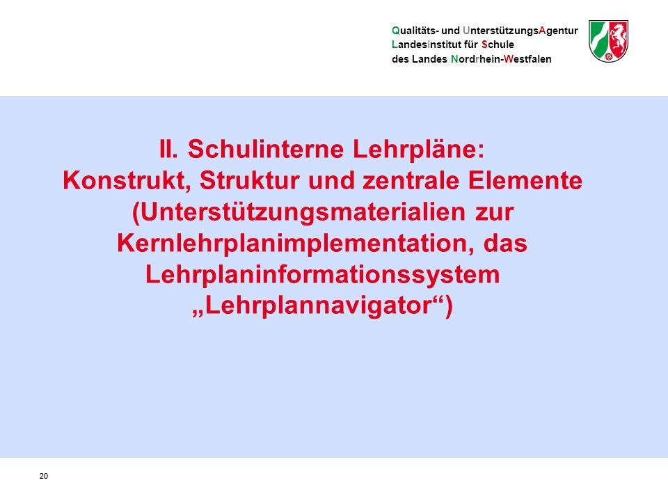 Qualitäts- und UnterstützungsAgentur Landesinstitut für Schule des Landes Nordrhein-Westfalen Aufgabe schulinterner Lehrpläne: die verbindlichen Vorgaben der Kernlehrpläne auf die Situation der Schule bezogen konkretisieren und Freiräume ausgestalten Rechtliche Grundlagen SchulG § 29 - Unterrichtsvorgaben (1) Das Ministerium erlässt in der Regel schulformspezifische Vorgaben für den Unterricht (Richtlinien, Rahmenvorgaben, Lehrpläne).