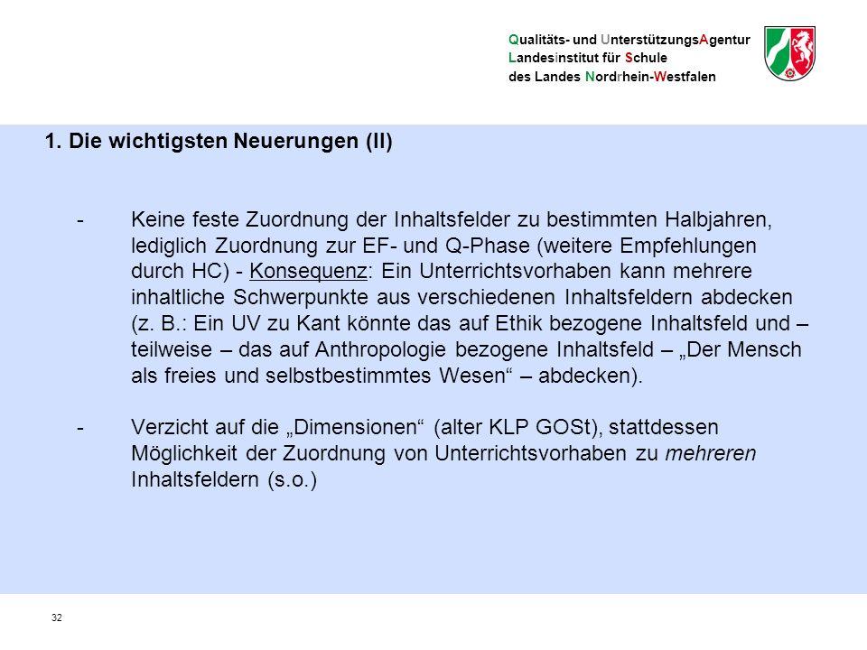 Qualitäts- und UnterstützungsAgentur Landesinstitut für Schule des Landes Nordrhein-Westfalen Vergleich zwischen KLP GOSt und KLP WBK 33 bis auf zwei Details in der Einführungsphase (Toulmin-Schema, bildliche und szenische Darstellung) identische übergeordnete Kompetenzen sehr starke inhaltliche Reduzierung der Einführungsphase (u.a.