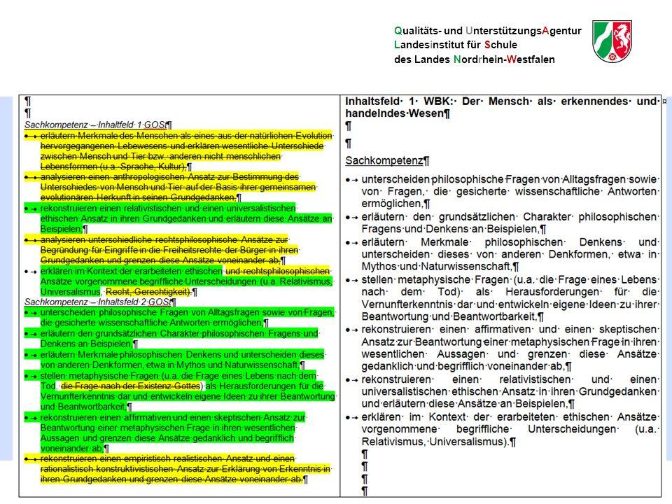 Qualitäts- und UnterstützungsAgentur Landesinstitut für Schule des Landes Nordrhein-Westfalen Der neue Kernlehrplan Philosophie im Überblick 35