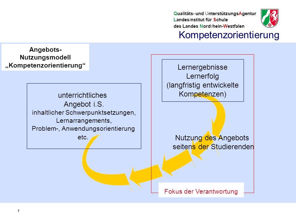 """Qualitäts- und UnterstützungsAgentur Landesinstitut für Schule des Landes Nordrhein-Westfalen 88 Kompetenzbegriff der Kernlehrpläne: Kompetenzen spiegeln die grundlegenden Handlungsanforderungen, denen Studierende in einem Lernbereich (Fach, """"Domäne ) ausgesetzt sind."""