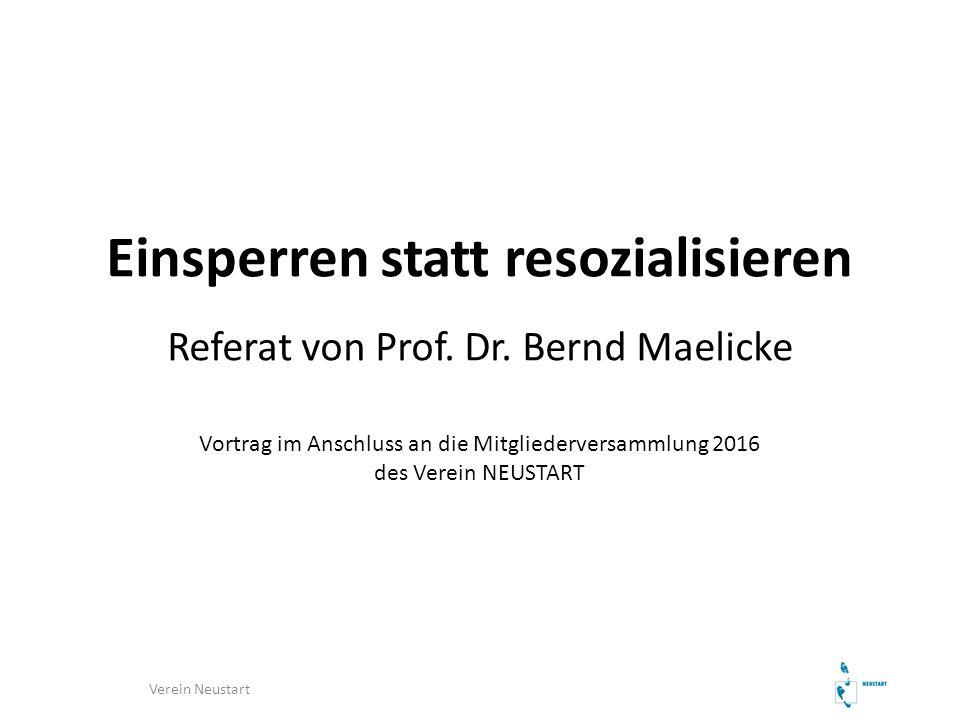 Einsperren statt resozialisieren Referat von Prof. Dr. Bernd Maelicke Vortrag im Anschluss an die Mitgliederversammlung 2016 des Verein NEUSTART Verei