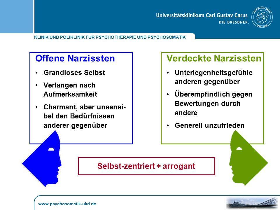 KLINIK UND POLIKLINIK FÜR PSYCHOTHERAPIE UND PSYCHOSOMATIK www.psychosomatik-ukd.de Offene Narzissten Grandioses Selbst Verlangen nach Aufmerksamkeit