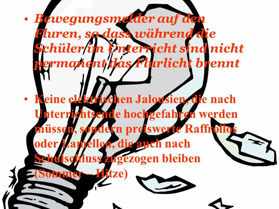 Bewegungsmelder auf den Fluren, so dass während die Schüler im Unterricht sind nicht permanent das Flurlicht brennt Keine elektrischen Jalousien, die nach Unterrichtsende hochgefahren werden müssen, sondern preiswerte Raffrollos oder Lamellen, die auch nach Schulschluss zugezogen bleiben (Sommer – Hitze)