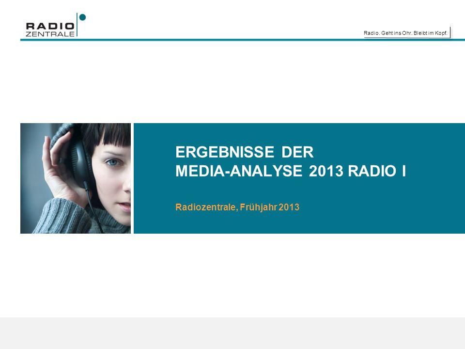 Radio. Geht ins Ohr. Bleibt im Kopf. ERGEBNISSE DER MEDIA-ANALYSE 2013 RADIO I Radiozentrale, Frühjahr 2013