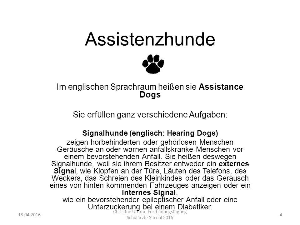 Assistenzhunde Im englischen Sprachraum heißen sie Assistance Dogs Sie erfüllen ganz verschiedene Aufgaben: Signalhunde (englisch: Hearing Dogs) zeigen hörbehinderten oder gehörlosen Menschen Geräusche an oder warnen anfallskranke Menschen vor einem bevorstehenden Anfall.